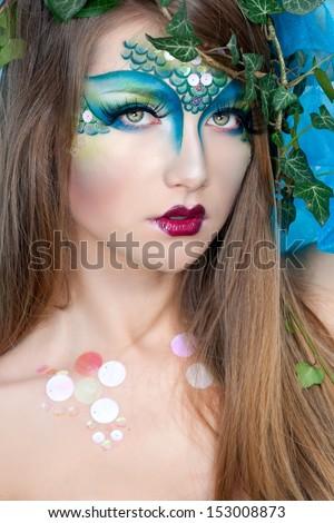beautiful creative fashion makeupdryadmermaid stock photo