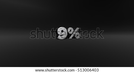9% - hammered metal finish text on black studio - 3D rendered royalty free stock photo. This image can be used for an online website banner ad or a print postcard.