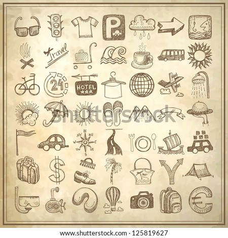 49 hand drawing doodle icon set on grunge paper background, travel theme, raster version