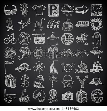49 hand drawing doodle icon set, travel theme on black background, raster version