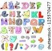 hand-drawn funny alphabet - stock vector