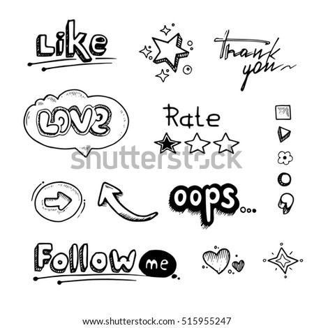 Hand drawn set of speech bubbles with dialog words Hello, Follow, like, Love, oops, rate. Stars, arrows and hearts illustrations isolate on white background