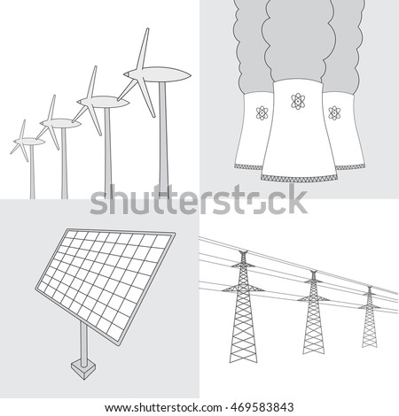 hand drawn various sources of energy collection. Nuclear Power Plant, wind turbines, solar panels and electric power sketches