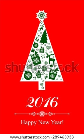 2016 Happy New Year greeting card. Celebration red background with Christmas tree, gift boxes and place for your text.  Illustration