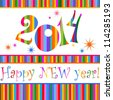 2014 Happy New Year greeting card or background. illustration - stock photo