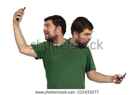 2 headed person taking a selfie and checking his phone on a white background