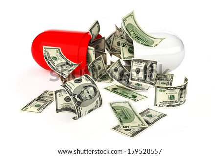 High cost of prescription medications , or health care concept. Money flowing from an open pill on a white background.