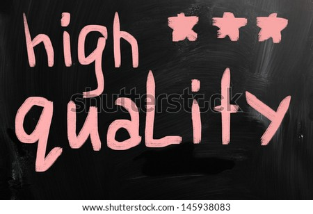"""High quality"" handwritten with white chalk on a blackboard"