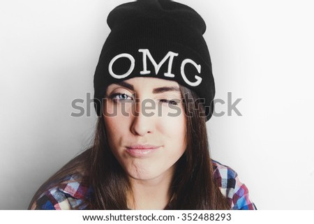 Hip hop girl with wool cap