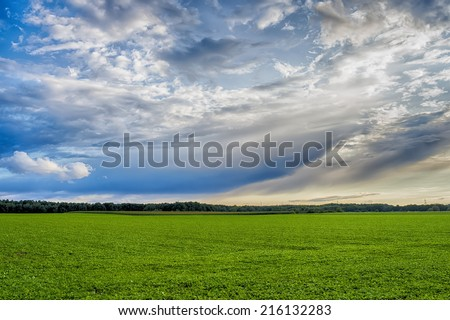 Idyllic landscape with blue sky and clouds
