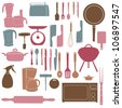 illustration of kitchen tools for cooking Raster version - stock photo