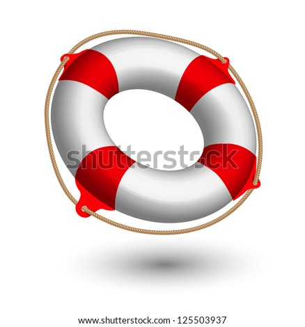 illustration of Life Buoy on white.