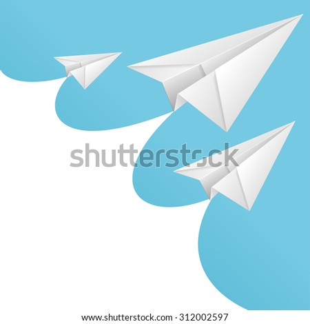Illustration White paper airplane card and text box