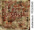 """JESUS"" Religious Words on Grunge Background - stock photo"