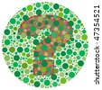 (Jpg) Inspired by colour blind tests, the question mark is behind green dots. Can you see it?!