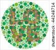 (Jpg) Inspired by colour blind tests, the word LOVE is behind green dots, which may be hard to see if one is colour blind! (A vector eps10 version is also available) - stock vector