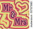 (Jpg) 60's retro wedding design with offset swirls around the words 'Mr & Mrs'. (A vector eps10 version is also available) - stock vector