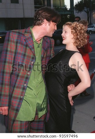 "29JUL98: Actress DREW BARRYMORE & actor DOUGRAY SCOTT at the world premiere, in Los Angeles, of their new movie ""Ever After."""
