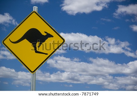 """Kangaroo"" road warning sign against a blue sky background with copyspace to the right"