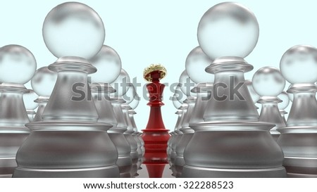 King with a crown and a pawn on a chessboard, wealth and poverty, power and slavery . 3d illustration