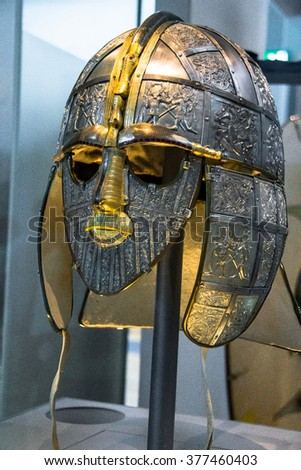 LONDON, UK - JUNE 4, 2015:  Replica of the helmet. The helmet and mask are part of the Sutton Hoo Treasure  which was kept at the British Museum.
