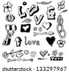 love doodles, hand drawn design elements - stock photo