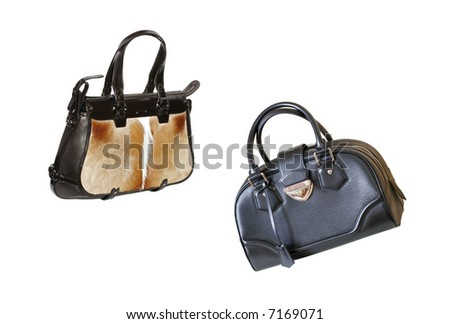 Luxurious woman bags isolated on the white background