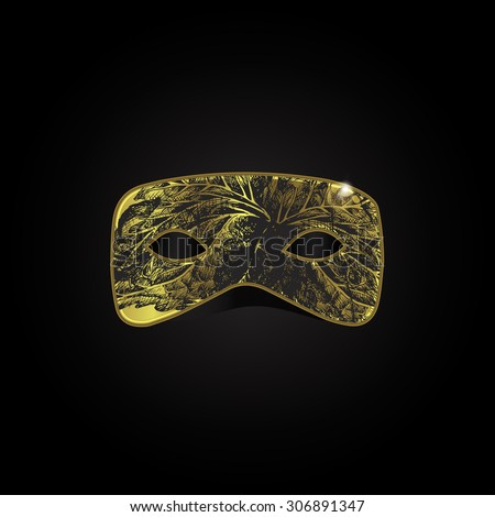 magic gold mask with black pattern