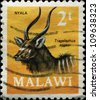 MALAWI - CIRCA 1971: A stamp printed in Malawi shows Nyala - Tragelaphus angasi, circa 1971 - stock photo