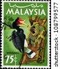 MALAYSIA - CIRCA 1969: A stamp printed in Malaysia shows enggang bird, series, circa 1969 - stock photo