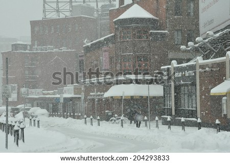 26 MARCH - BOSTON, MA: Snow blankets Boston's famous North End neighborhood during a northeaster that hit on 26 March 2014.