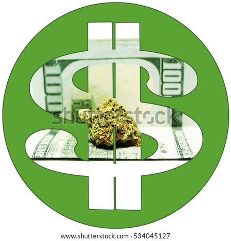 $ Marijuana, Cannabis Economy. Pot and Weed in a Green Dollar Sign Symbol.