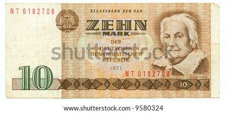 10 mark bill of DDR, biscuit background