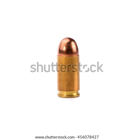 9mm bullet for a gun isolated on white background.