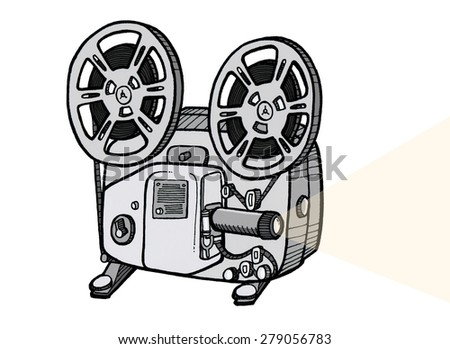 8mm Film Projector Illustration