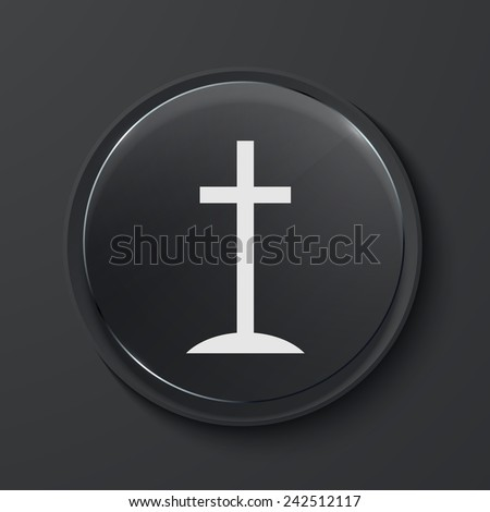 modern black glass circle icon