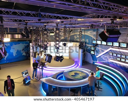 "05.04.2015, MOLDOVA, ""Publika TV"" NEWS studio with light equipment ready for recordind release."