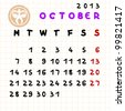 2013 monthly calendar October with Libra zodiac sign stamp - stock vector
