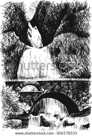 mountain landscape with waterfall by hatching in , nature scetch, waterfall poster