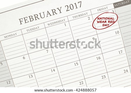 National Wear Red Day February 2017 Calendar Close Up