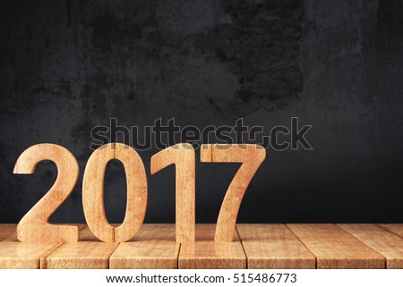 2017 New year digits on wooden table on dark grunge background. 3d render