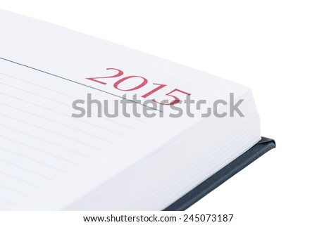 2015 notebook on white background close-up