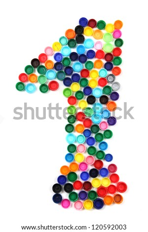 1 - number from the plastic caps isolated on the white background