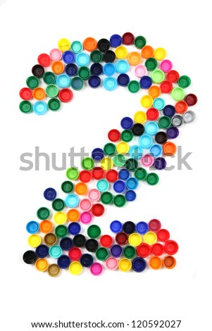 2 - number from the plastic caps isolated on the white background