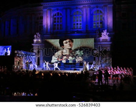 ODESSA, UKRAINE - June 4, 2013: Opening of the International Arts Festival of Opera and Ballet in the open square with fountain in  National Theatre of Opera and Ballet