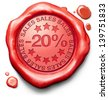 20% off sales summer or winter reduction extra low price buy for bargain limited offer icon red wax seal stamp - stock vector