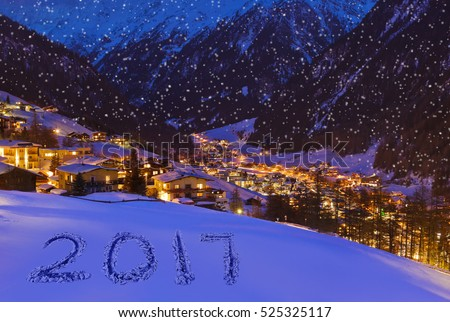 2017 on snow at mountains - Solden Austria - celebration background