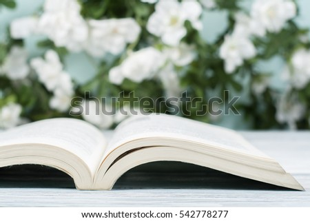 Open book, hardback books on wooden table on natural background .  Back to school. Copy space for text.