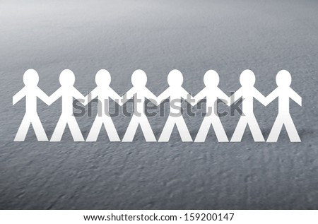 paper people on gray  background