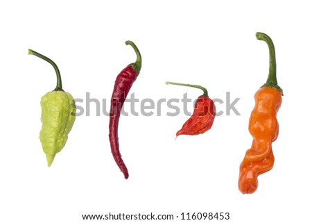 4 peppers isolated on white with water drops